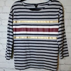 J Crew Boatneck Grey with Stripes Classic Tee